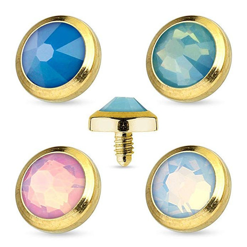 Flat Top Opalite Gem Gold IP 316L Surgical Steel Dermal Anchor Top 14ga