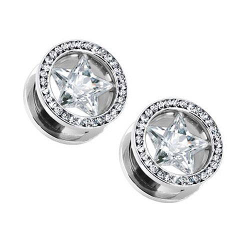 "Pair of Star Ear Plug with Back Threading (4 gauge to 3/4"" gauge)"