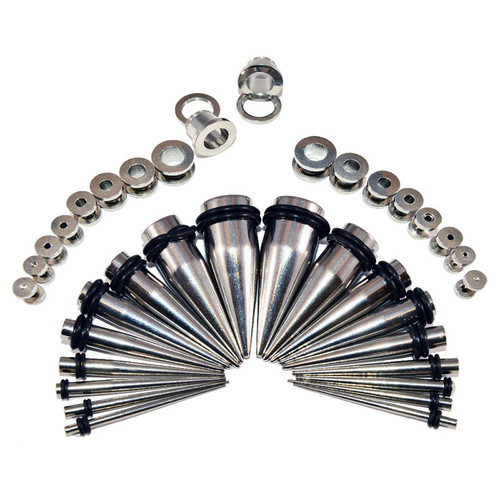 36 Pieces Ear Stretching Kit - Surgical Steel Tapers & Screw Fit Plugs