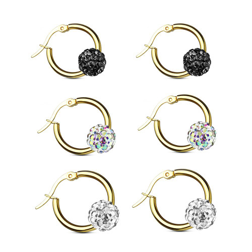 Pair of Colored Crystal Ball Gold IP  Surgical Steel Hoop Earring 12g