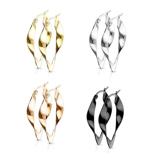 Pair of  Twisted Oval Hoop Earrings Stainless Steel 22g