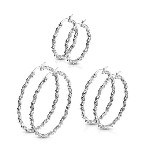 Pair of Hoop Earrings Braided Twisted Design Made of Stainless Steel 22ga