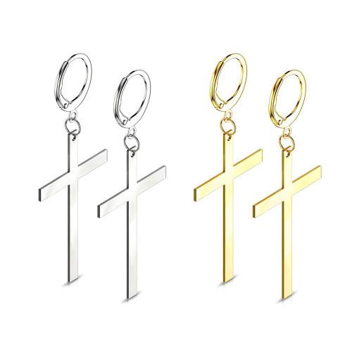 Pair of Hoop Earrings with Dangle  Cross Stainless Steel 20ga