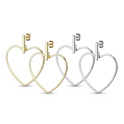 Pair of Stainless Steel Earrings with Bar and Heart Hoop Dangle Design 20ga