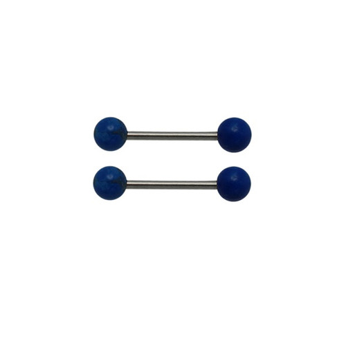 14 gauge nipple ring barbells with Lapis Lazuli semi precious stone