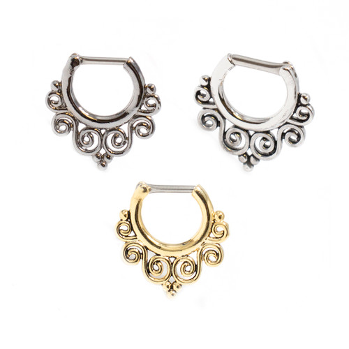 Tribal Swirls Septum Clicker Surgical Steel 16ga