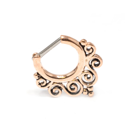 Rose Gold Tribal Swirls  16ga Septum Clicker