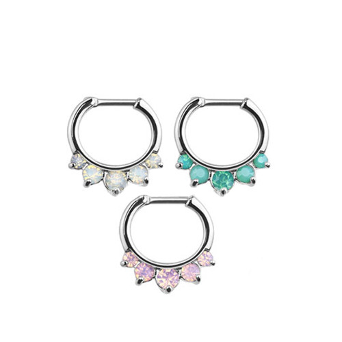 16ga Five Pronged Opalites 316L Surgical Steel Septum Clicker Ring - 3 Colors to Choose From