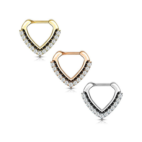 CZ Paved Chevron Shape Clicker for Septum, Daith and More 16ga