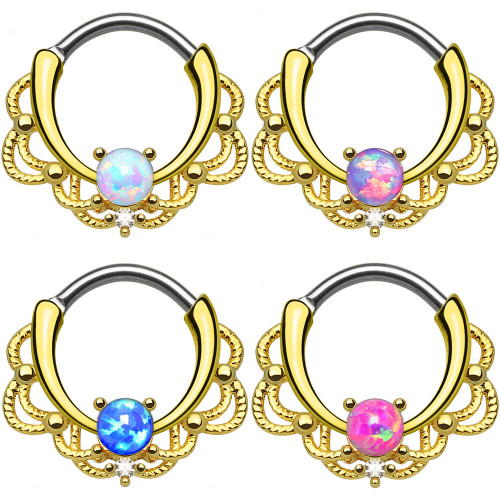 Lace Design 16GA Septum Clicker with Opalite Gem