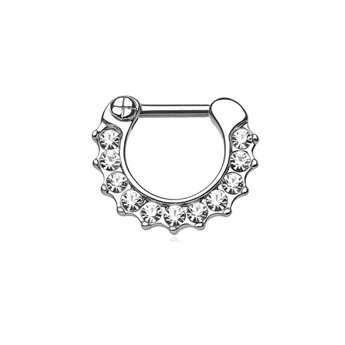 Ion Plated Surgical Steel Septum and Daith Clicker with CZ Gems 16ga