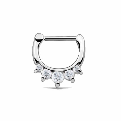 Silver Ion Plated Surgical Steel Septum and Daith Clicker with CZ 16ga
