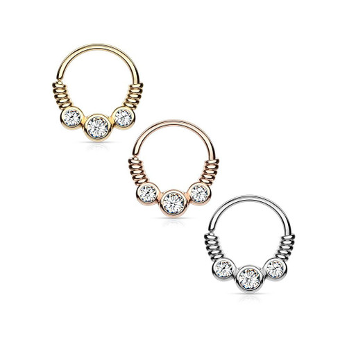 3 CZ Set Between Coiled Wire Bendable Hoop Rings for Septum, Ear Cartilage, Daith, and More