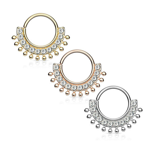 CZ Lined Fan Bendable Hoop Rings for Septum, Ear Cartilage, Daith Surgical Steel 16ga