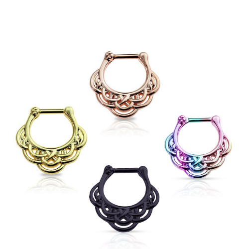 Septum Clicker 16G Tribal Pattern Design Surgical Steel Anodized Sold Each