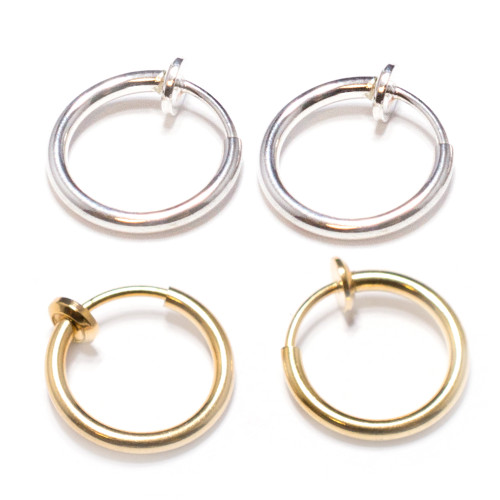 Pair of Spring Action Titanium IP Fake Septum, Nose, Ear Cartilage Hoop