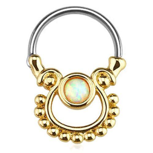 Single Opal Gold 316L Surgical Steel Septum or Cartilage Clicker