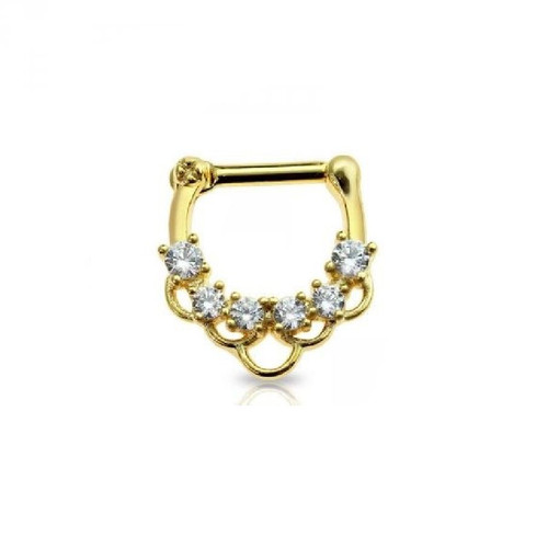 Septum Clicker Gold Plated with Multi Link Prong CZ Gem Hoop Surgical Steel 16ga