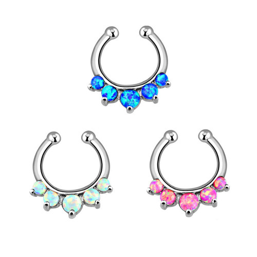 Non-Piercing Septum Hanger with Five Paved Synthetic Opal Gems