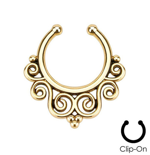 Tribal Swirls Non-Piercing Septum Hanger - Rhodium-Plated Brass