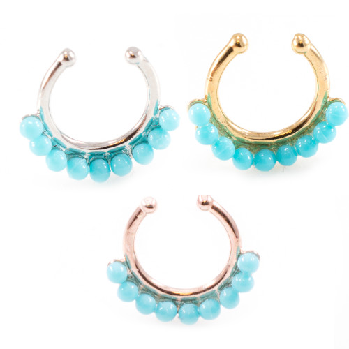 Non-Piercing Turquoise Bead Septum Hanger Clip-On Nose Ring
