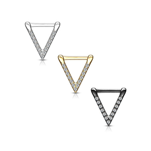 CZ Paved Triangle Clicker for Septum, Ear Cartilage and More 16ga