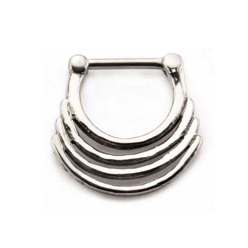 Stainless Steel Triple Play Ring Septum Clicker 16ga - Out Of stock