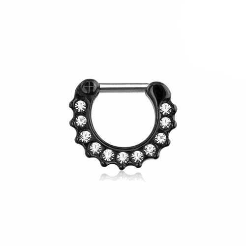 Black Ion Plated 16ga Cartilage Ring  with CZ Gems