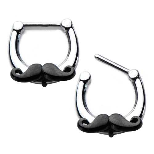 316L Surgical Steel Septum Clicker with Black Handlebar Mustache Charm