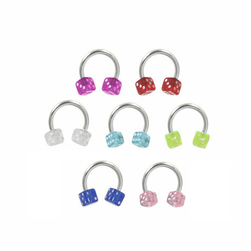 Septum ring surgical steel  with acrylic Acrylic Dice 16 gauge