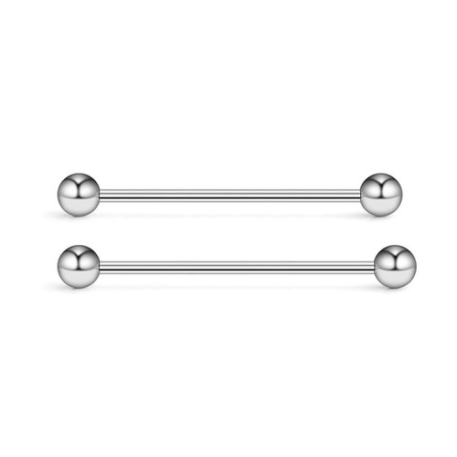 Set of 2 Surgical steel 14G industrial Barbells