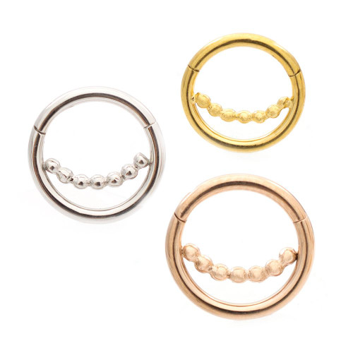 Ball Chain Design Ear Cartilage & Septum Micro Hinged Segment Ring 16ga Surgical Steel