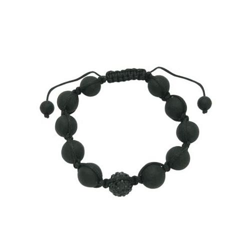 Fashion Bracelet Black Swarovski Crystal Ball & Black Beads