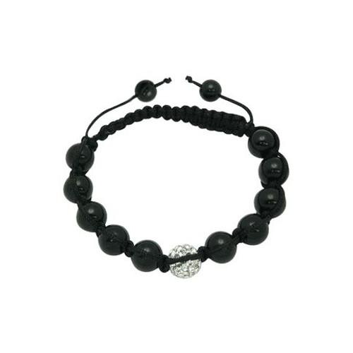 Fashion Bracelet Clear Swarovski Crystal Ball & Black Beads