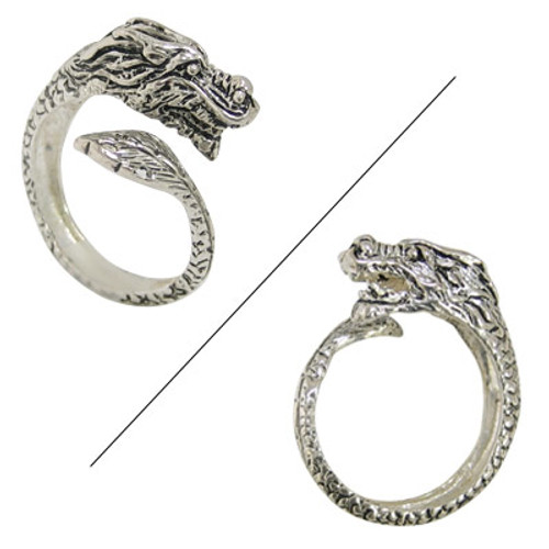 Silver Coated Dragon Finger Ring