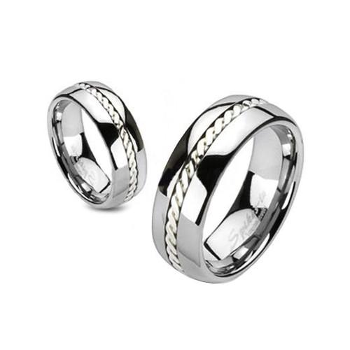 Silver Rope Inlay Band Ring
