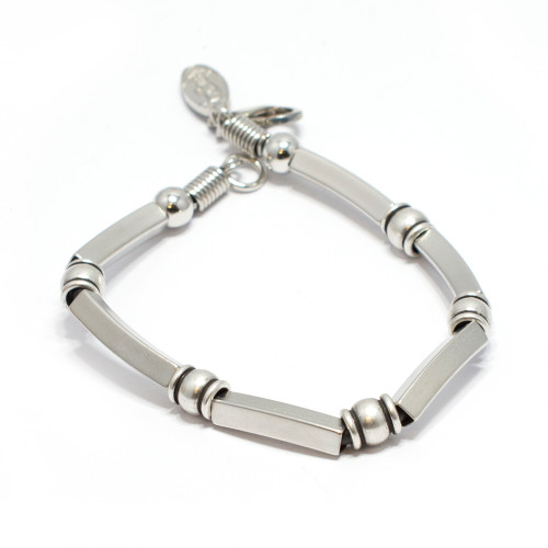 Silver Plated Bracelet with Mix Silver Beads
