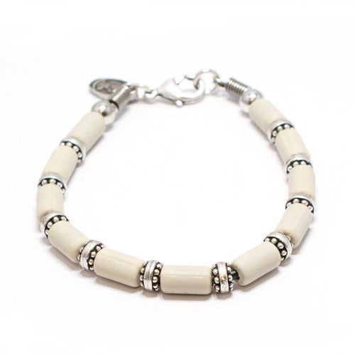Silver Plated Bracelet with Silver and Bone Color Beads