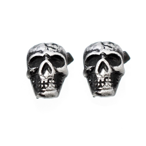 Pair of Vintage Skull Design Magnetic Earrings 6mm