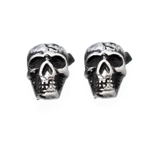 Pair of Vintage Skull Design Magnetic Earrings 6mm