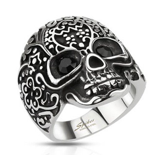 Stainless Steel Skull ring with abstract design