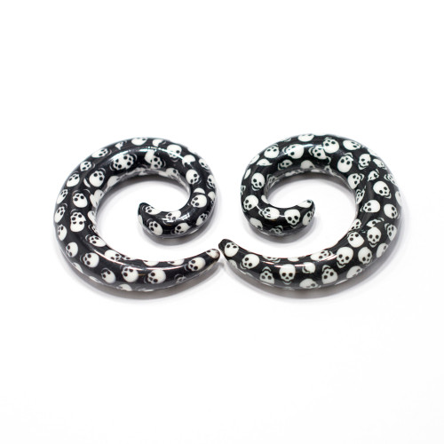 Spiral Skull Printed  (3mm up to 10mm)  Ear Stretchers 1Pair