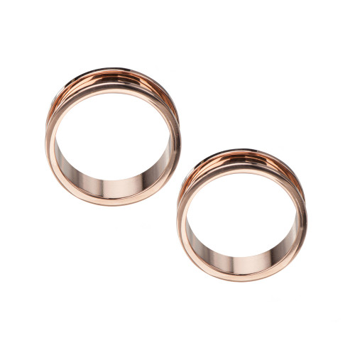 Rose Gold Plated 316L Surgical Steel Screw-Fit Tunnels  - Sold as a Pair
