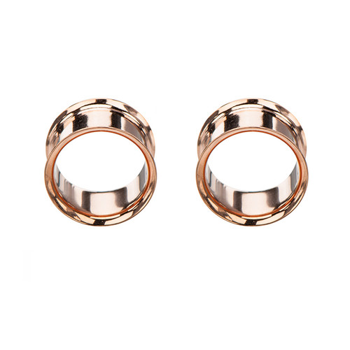 Pair of Small Gauge Rose Gold Plated Surgical Steel Saddle Double Flare Ear Plug
