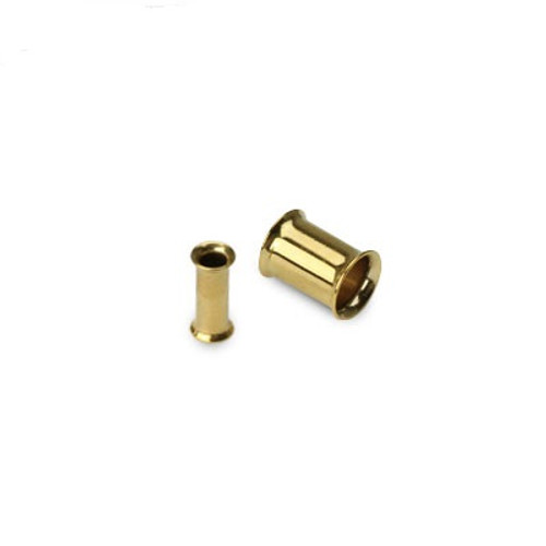 Pair of Small Gauge Gold Plated Double Flared Tunnel Ear Plug (12 gauge to 0 gauge)