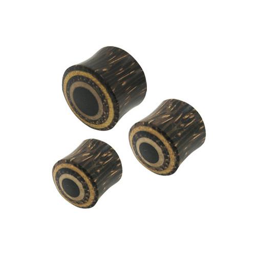 Pair of 16mm Small Gauge Wood Ear Plug Circle Design