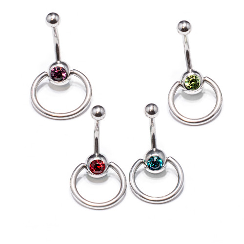 Package of 4Pcs 14G Surgical Steel Belly Button Rings for Women Navel Rings with CZ Stones