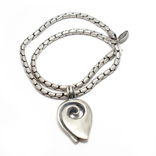 Snake Skin Silver Plated Necklace with Mario Art Wave Designed Pendant