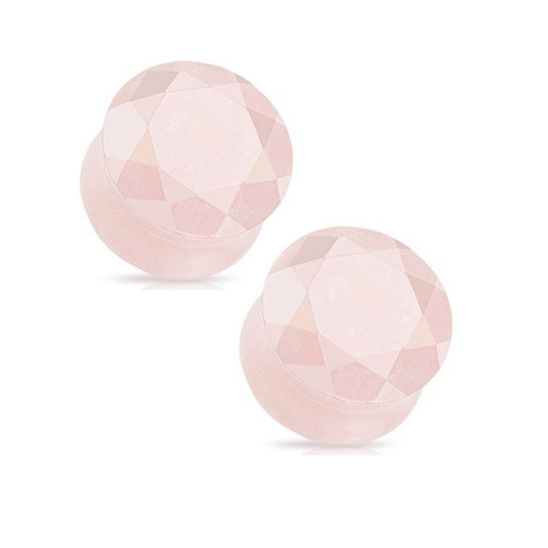 Pair of Rose Quartz Semi Precious Stone Faceted Gem Cut Double Flared Plugs