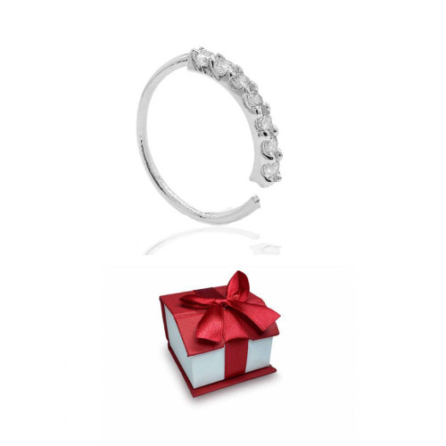 Holiday Gift Solid Gold Hoops Piercing 14 Karat with 7 Prong 1.5mm SI1 Diamond Sold as a piece